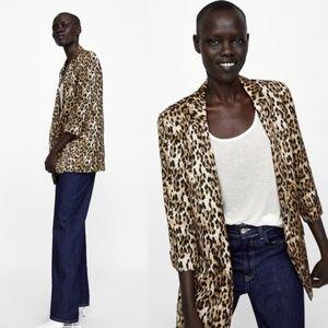 Zara Basic Animal Print Blazer Cheetah Leopard - M